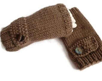 Womens Knit Fingerless Gloves, Brown Gloves, Knit Wristwarmers, Brown Handwamers
