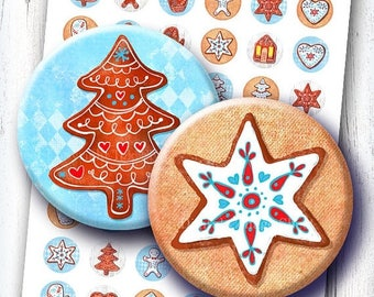 Christmas Cookies 1 & 1.313 inch bottlecap circles images. Gingerbread printable digital collage sheet for xmas decors, magnets.  Download.