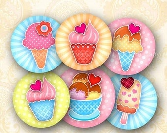 1 inch circles Summer Ice Cream. Sweet ice-cream bottle caps printable images. Cakes kitchen digital download for cupcake toppers, decors