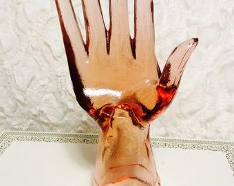 Vintage Depression Pink Glass Hand Display Mannequin Jewelry