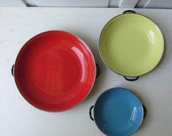 Mid Century Enamel Saute Pan Set of 3 - Red / Yellow / Blue - Primary Color Kitchen -  Made in Yugoslavia
