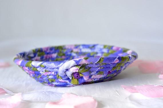 Bachelorette Party Favor, Gift Basket, Handmade Purple Lavender Bowl, Bridal Party Party Decor, Lovely Soft Fabric Pottery Bowl