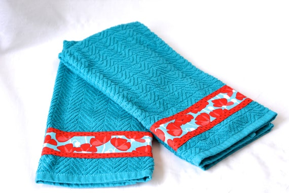 Aquamarine Home Decor, Free Shipping..... 2 Hand Decorated Kitchen Towels, Set of Two Cotton Turquoise and Red Tea Towels, Aqua Dish Cloths