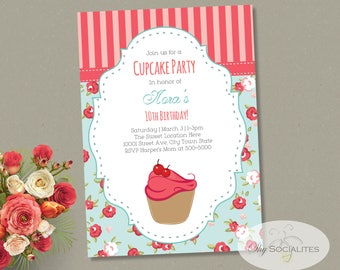 Shabby Chic Cupcake Invitation | Cupcake Party, Bakery, Sweet Shop, Roses | Instant Download TEMPLATE | Editable Text PDF