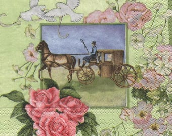 3177 - Paper towel romantic horse and carriage