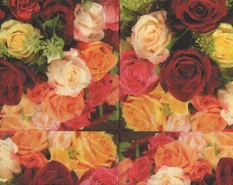 3264 - Set of 5 white yellow red roses paper napkins