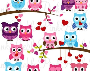 BACK TO SCHOOL Sale Valentine Owl Clipart Clip Art, Valentine's Day Owls Clipart Clip Art Vectors - Commercial and Personal