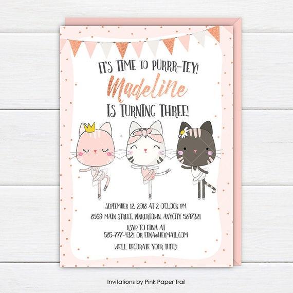 Cat birthday invitation cute cat kitten its time to purrr tey il570xn filmwisefo