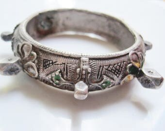 Vintage Berber Knob Bracelet Moroccan Enamel and Silver Bangle from North Africa