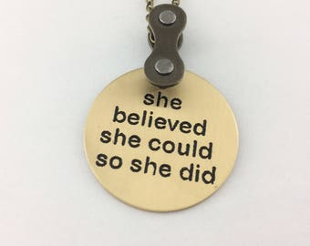 She believed she could so she did, bike jewelry, bicycle pendant, fixie gift, bmx necklace, road bike jewelry, single gear accessory
