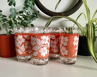 Vintage Floral Coral Glasses - Set of 4