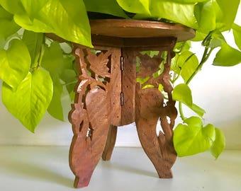 Vintage Carved Wood Plant Stand