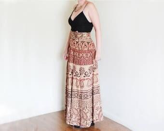 Vintage Indian Cotton Maxi Wrap Skirt / Block Printed Cotton Skirt / Boho Hippie