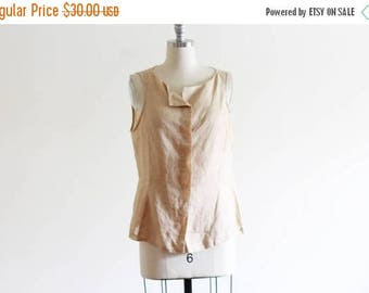 25% OFF SALE Vintage Minimal Woven Neutral Tank / Ramie / Natural Sheer Blouse Loose Blouse