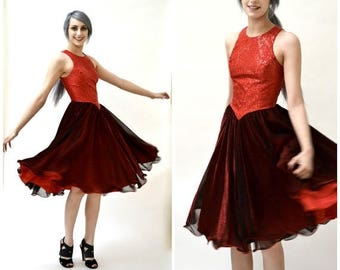 SALE Vintage Prom Dress Red and Black Size Small// Vintage 80s Prom Dress Small// Vintage 80s Metallic Dress Swing Dress Red and Black