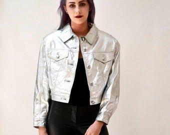 SALE Vintage Leather Jacket Metallic Silver Small By Lillie Rubin// 90s Metallic Silver Leather Jacket