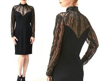 SALE 90s Vintage Black Beaded Dress by BOB MACKIE Evening Size Medium Large// Vintage Black Illusion Dress Beaded Long sleeve Flapper showgi