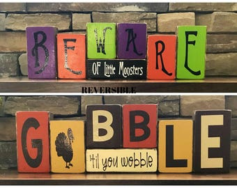 Reversible Fall and Halloween blocks-Beware of little monsters reverses with Gobble til you wobble