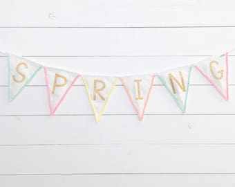 Spring Fabric Pennant Banner with Pom Pom Trim & Glitter Gold or Silver Lettering - Bunting, Garland - 2 Different Color Themes Available