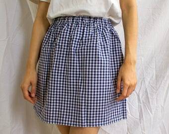 the Stella -skirt (navy blue checks gingham one size cotton print mini skirt with elastic waist UK 6-10)