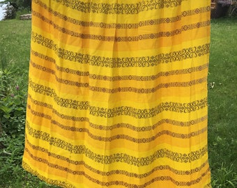 Pseudo embroidered vintage barkcloth tablecoth pattern fabric curtain pinch pleat gold orange yellow brown