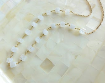 Faceted Moonstone Cube Vermeil Wire Wrapped & Gold Rolo Chain Necklace (N1798)