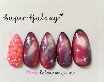 Super Galaxy Fake nail set x12 You choose colour! Press on nails
