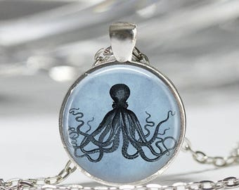 ON SALE Blue Octopus Necklace Kraken Beach Jewelry Art Pendant in Bronze or Silver with Link Chain Included