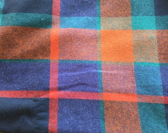 "Vintage Red and Blue Plaid Wool Blend Fabric 60"" PRICE PER YARD -wool fabric,plaid wool fabric,red & blue plaid fabric, plaid fabric, wool"