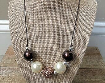 Chunky Bubblegum Bead Necklace on Leather Cord with Brown and White beads