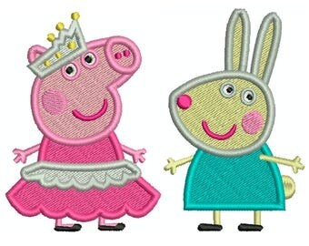 PEPPA PIG 2 - Machine Filled Embroidery - 2 Patterns in 2 Sizes - Instant Digital Download