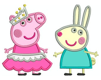 PEPPA PIG 2 - Machine Applique Embroidery - 2 Patterns in 2 Sizes - Instant Digital Download