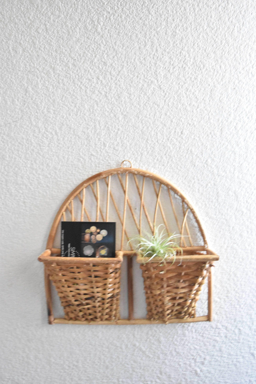 mid century woven wall hanging file mail storage basket. Black Bedroom Furniture Sets. Home Design Ideas