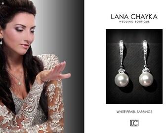 White Pearl Small Earrings Bridal Pearl Drop Earrings Sterling Silver CZ Pearl Earrings Swarovski 8mm Pearl Earrings Bridal Pearl Jewelry