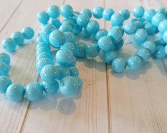 """BULK Beads Light Blue Beads Glass Beads 8mm Beads 8mm Glass Beads Wholesale Beads 100 pieces 32"""" strand"""