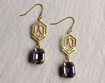 Art Deco Earrings ... Lilac Purple Amethyst Art Nouveau February Birthstone