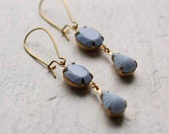Cornflower Blue Earrings ... Lilac Pastel Drop Earrings