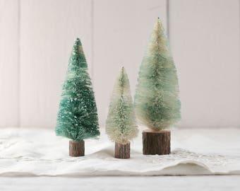 Bottle Brush Trees - Set of 3 Sisal Christmas Trees with Rustic Wood Bases