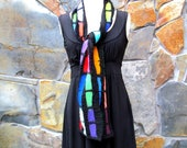 Multi color strips of hand dyed merino wool in a linear design, nuno felt scarf