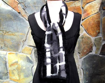 Nuno felt scarf: black, white and gray fiber painting