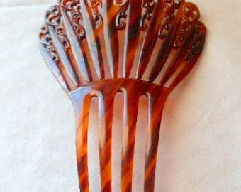 Vintage tortoise shell  color Celluloid ornate Haircomb
