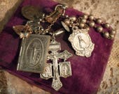 Vintage / Antique Virgin Mary Medallions / Catholic relics / Cross / Prayer Book / Key Chain / Mini Screw Driver