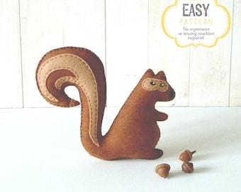 Squirrel Sewing Pattern, Stuffed Squirrel Hand Sewing Pattern, Felt Squirrel Pattern, Woodland Squirrel, Squirrel Softie