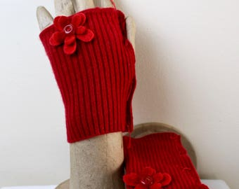 Fingerless Gloves Red 100% Felted Cashmere Upcycled