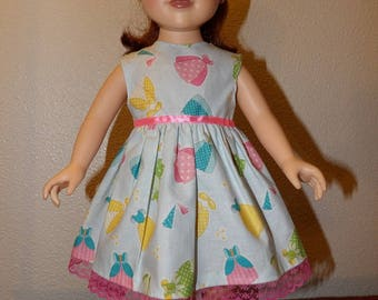 Pretty lite blue sleeveless dress printed with colorful princess dresses for 18 inch dolls - ag335
