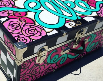 Handpainted Custom Camp Trunk