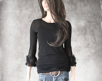 Black fringe top - Contemporary Lightweight layer - Half sleeve scoop neck