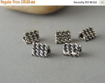 30% OFF Thai Sterling Silver Beads, 5 Beads, Textured Triangle Beads, Silver Triangles, Artisan Jewelry