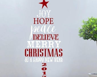 20% OFF Merry christmas Tree joy peace hope believe happy new year 2017 holiday Vinyl Lettering wall words graphics Home decor itswritteninv
