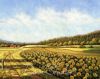 Sunflower Fields - Field of sunflowers, sunflower art, sunflower print with a red barn in the distance signed giclee art print.
